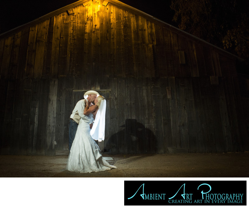 Wedding couple kissing at the Grove, Sanger, CA