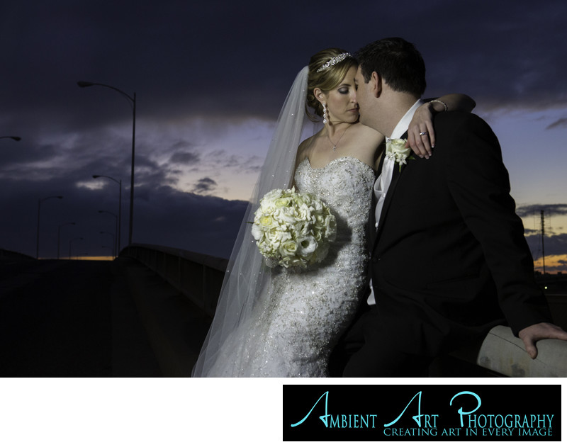 Bride and groom, Sunset photos.  The Grand, Wedding