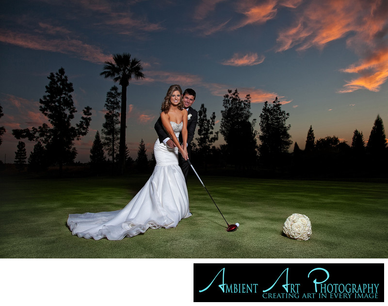 Golfing Wedding Couple, Copper River Country Club,