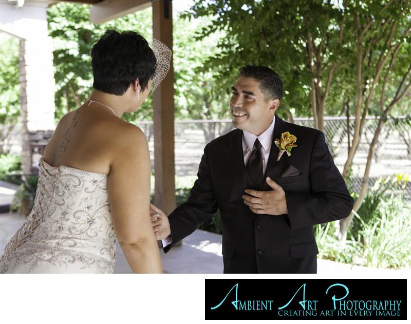 Kingsburg Wedding, First look. Bride and groom