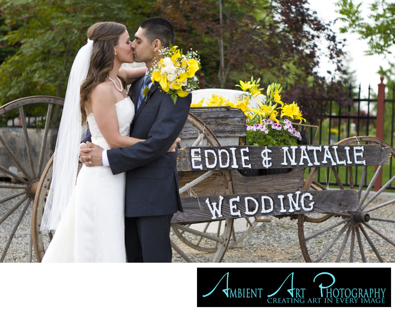 Wedding couple kissing in Madera, CA