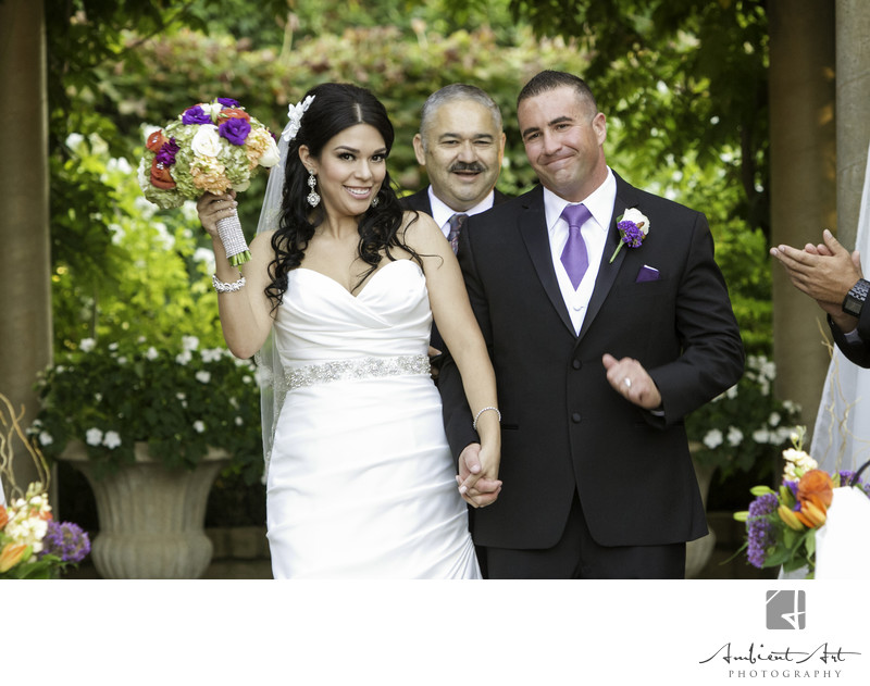 Couple smiling just after wedding.  Wolf Lakes, Sanger, CA