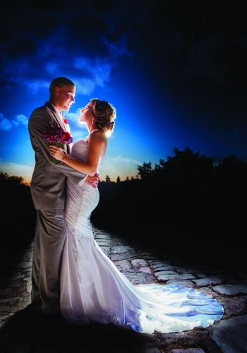 Wedding Couple at Sunset.  Clovis, CA