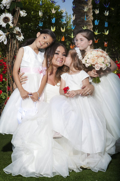 Bride with Adorable Flower Girls