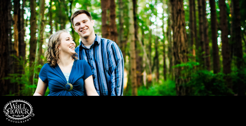 Engagement portrait in Point Defiance Park forest