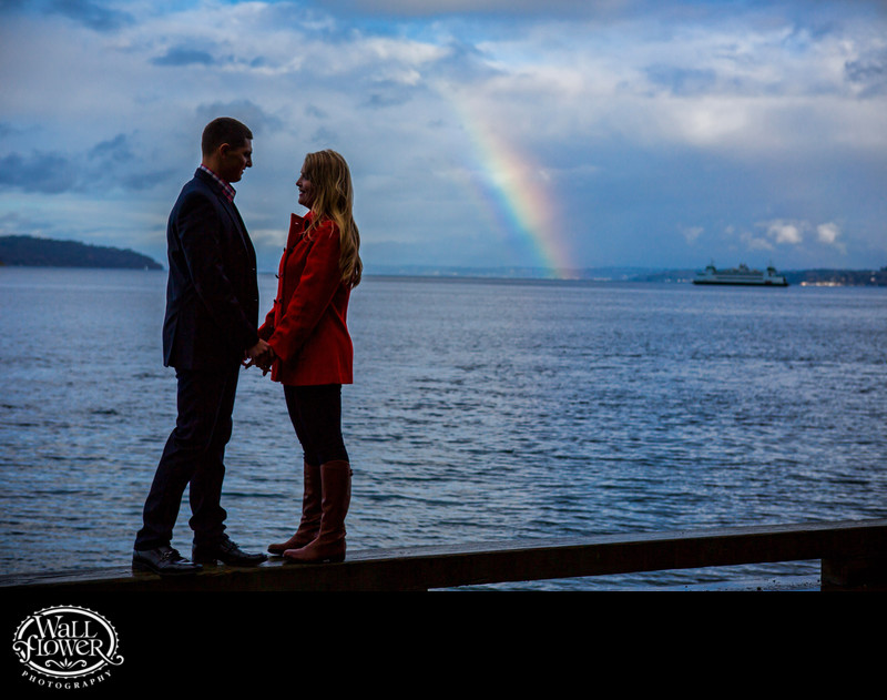Engagement portrait with Point Defiance rainbow, ferry