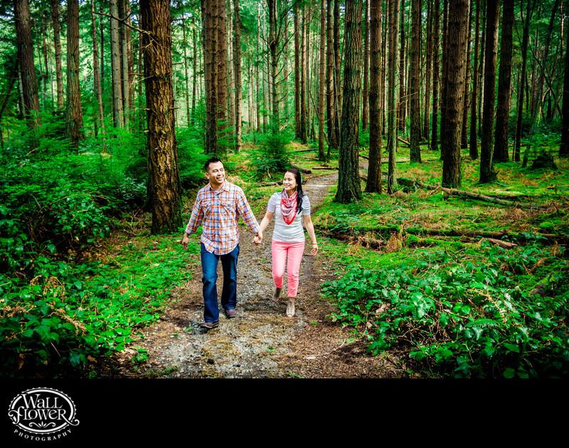 Engagement portrait on Point Defiance Park forest trail