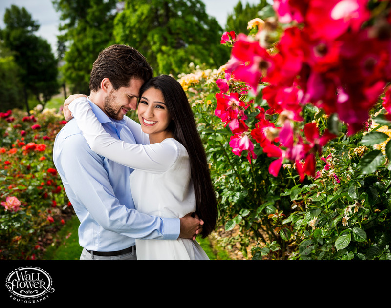 Engagement portrait in Point Defiance Park Rose Garden