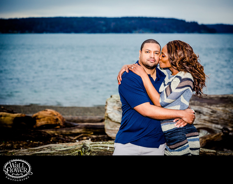Engagement portrait from classic Owen Beach viewpoint