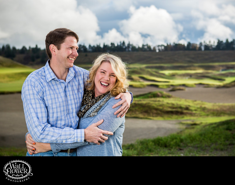 Engagement portrait at Chambers Bay Golf Course