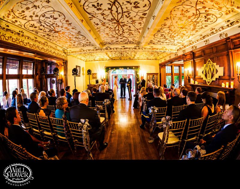 Fisheye photo of Weyerhaeuser Estate wedding ceremony