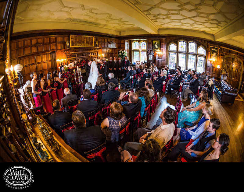 Wedding ceremony in Great Hall of Thornewood Castle