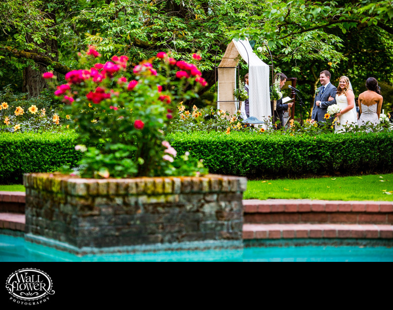 Lakewold Gardens wedding ceremony over swimming pool