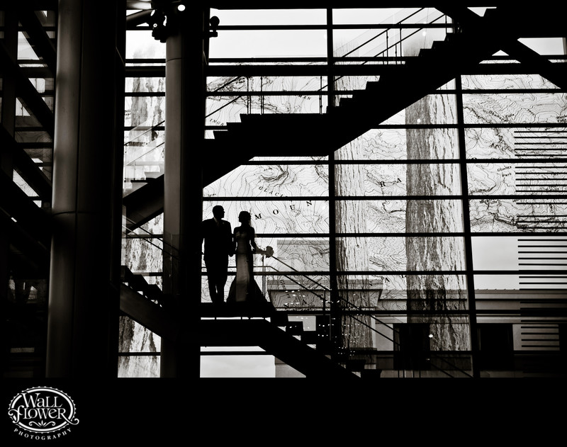Bride and groom silhouette on GTCTC floating staircase