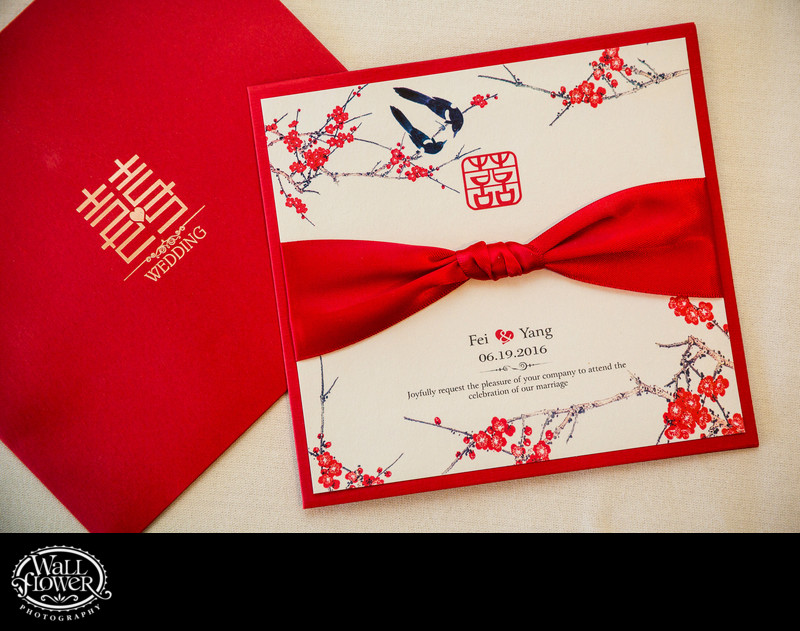 Detail of invitation to Chinese-American wedding