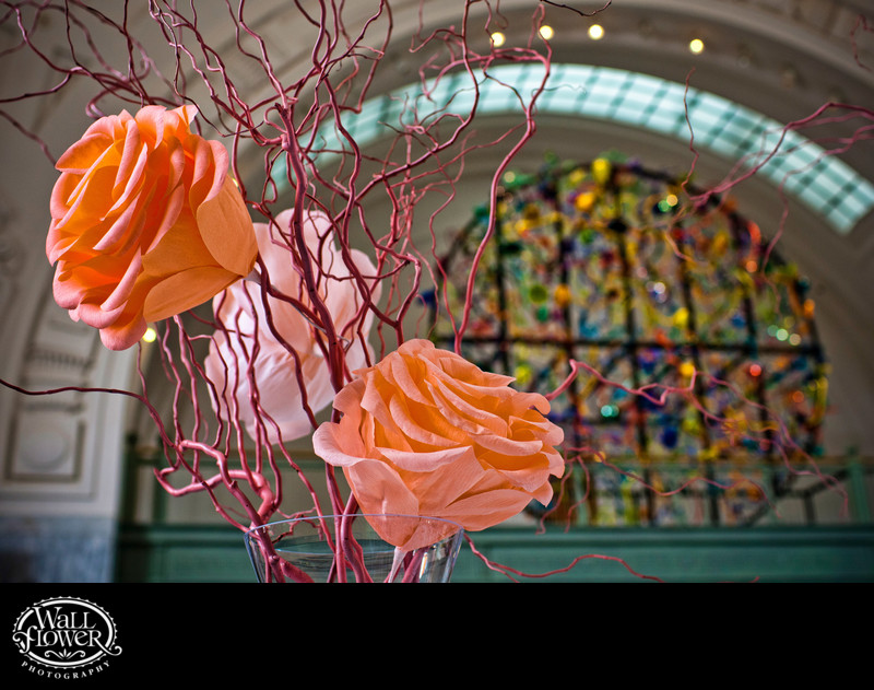 Detail of huge paper flowers at Tacoma Union Station