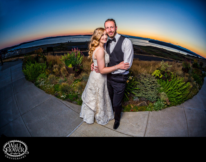 Bride and groom fisheye portrait at Chambers Bay sunset