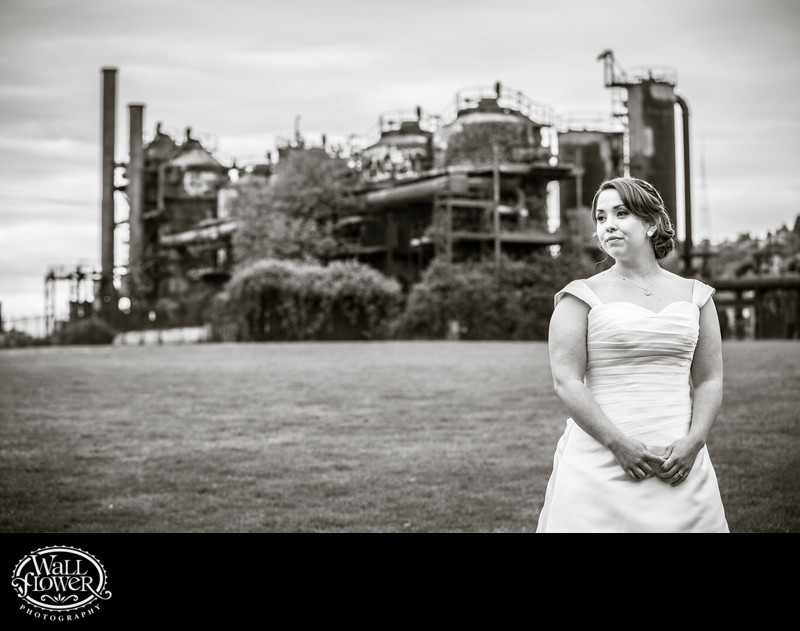 Serious bride looks off in Seattle's Gas Works Park