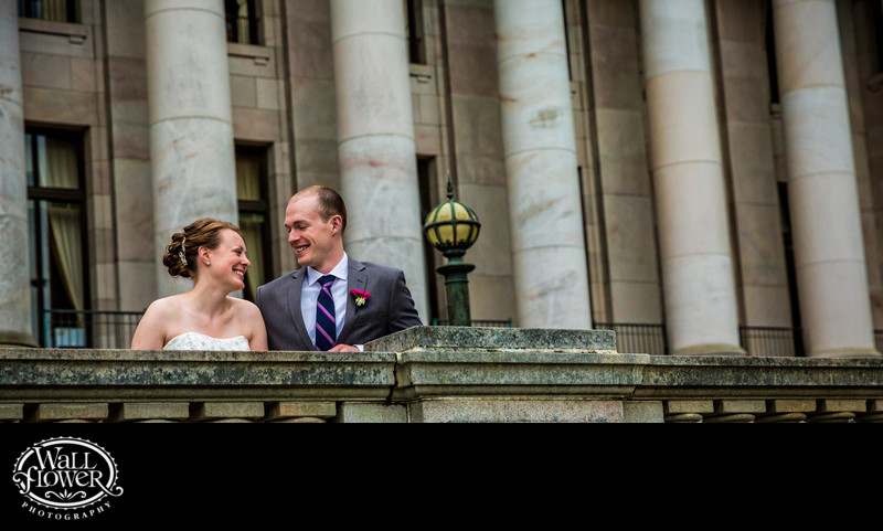Bride and groom by Legislative Building at WA capitol
