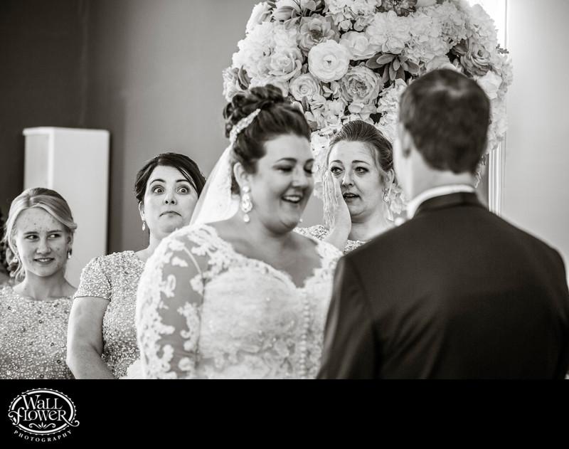 Bridesmaids react variously to emotional wedding ceremony