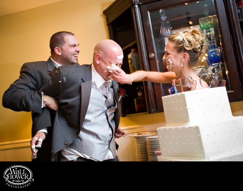 Bride takes cake smash revenge with best man's help