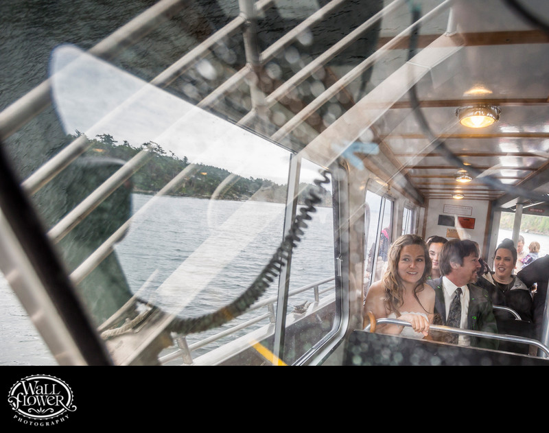 Bride, groom and guests ride whale-watching boat to ceremony site on Sucia Island