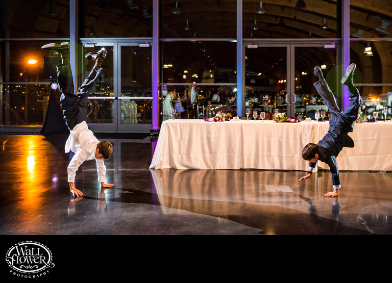 Groom's nephews walk on hands after car museum wedding