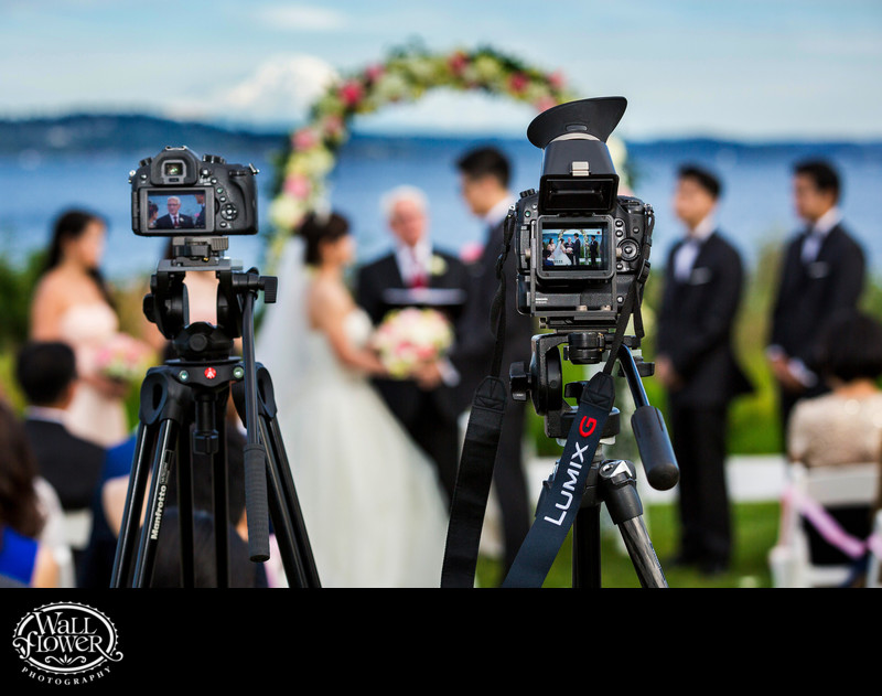 Video cameras recording wedding at Seattle Tennis Club