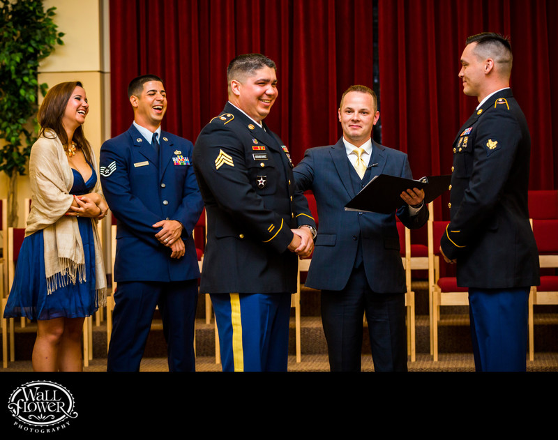 Army grooms smile in wedding when pronounced married