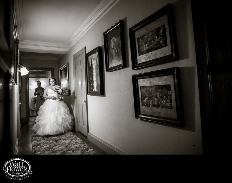 Nervous bride walks down Thornewood Castle hallway