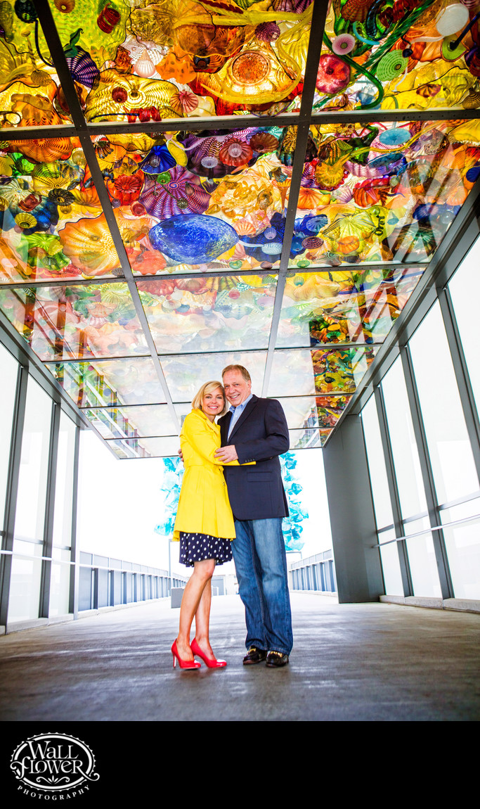 Engagement portrait on rainy Bridge of Glass in Tacoma