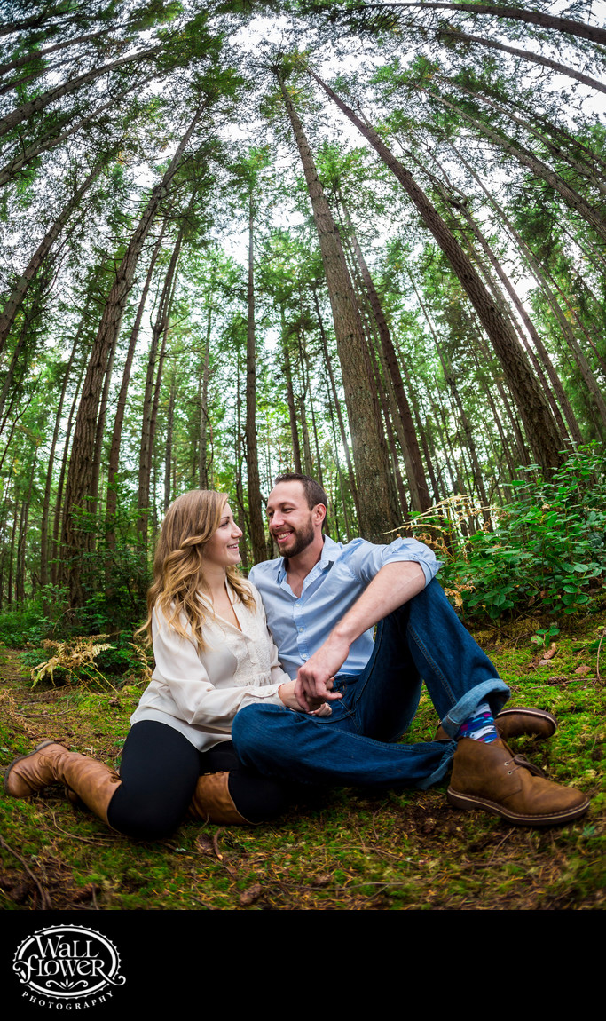 Engagement portrait in forest, from moss to treetops