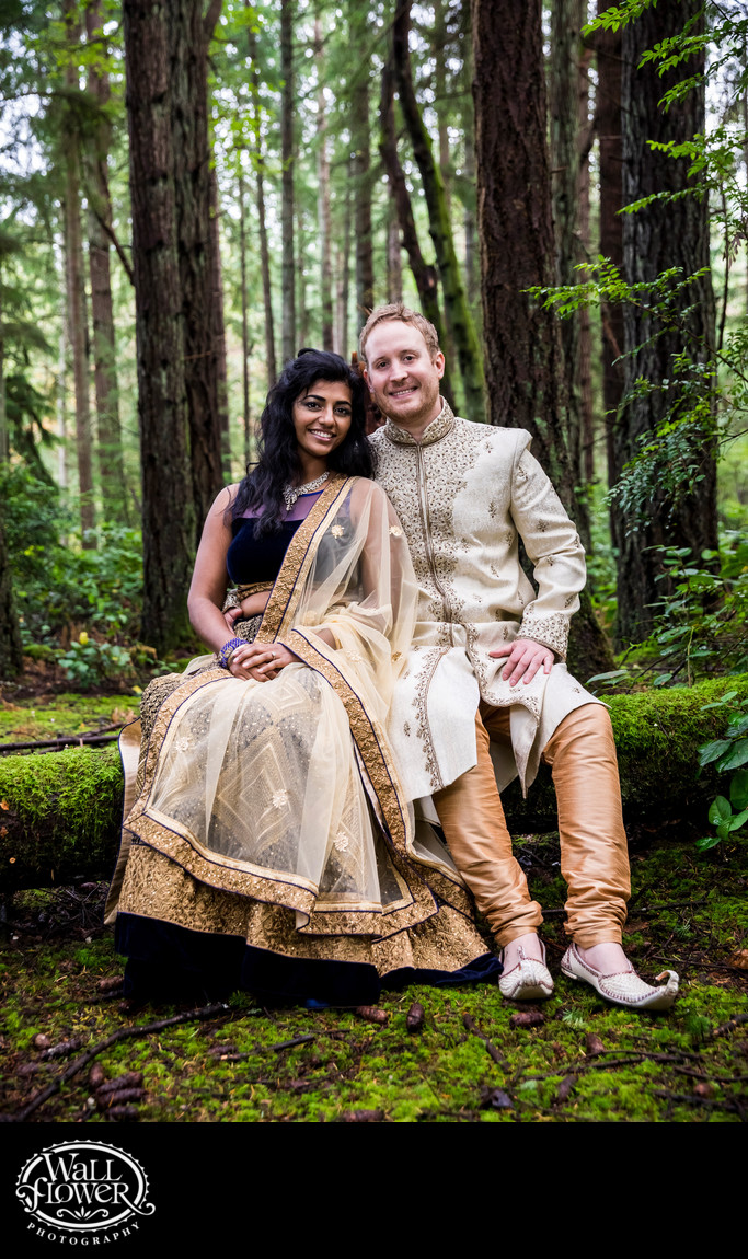 Engagement portrait on forest log with Indian attire