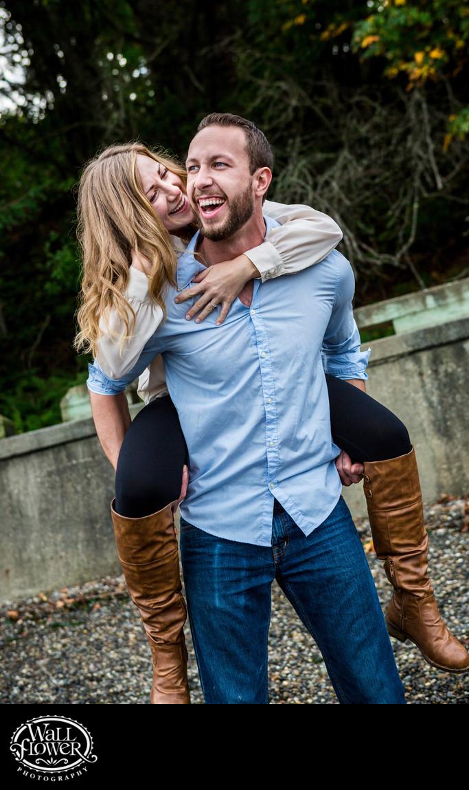 Engagement portrait of Owen Beach piggyback ride