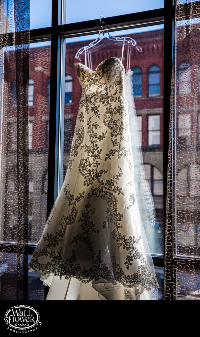Detail of wedding dress in window of Tacoma Marriott
