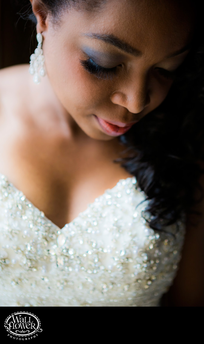 Detail photo of bride's eyelashes in window light