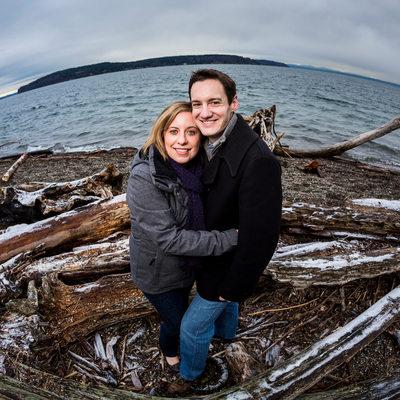 Engagement portrait on frosty Owen Beach