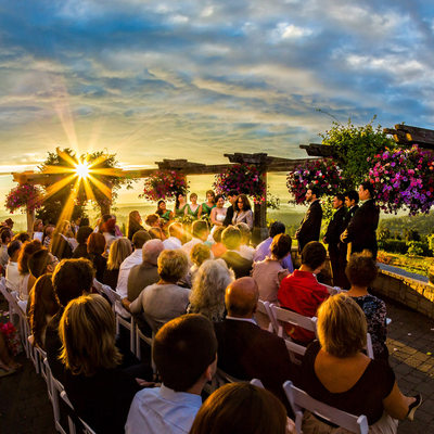 Sunset over wedding ceremony at Newcastle Golf Club