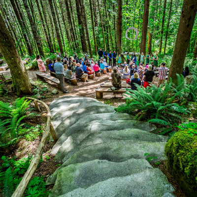 Forest wedding ceremony at Wellspring Spa near Rainier