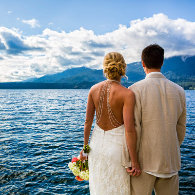 Bride and groom at Lake Quinault, Olympic National Park