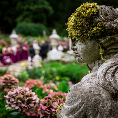 Detail of statue at Thornewood Castle garden wedding