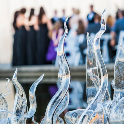 Detail of Museum of Glass artwork in wedding ceremony