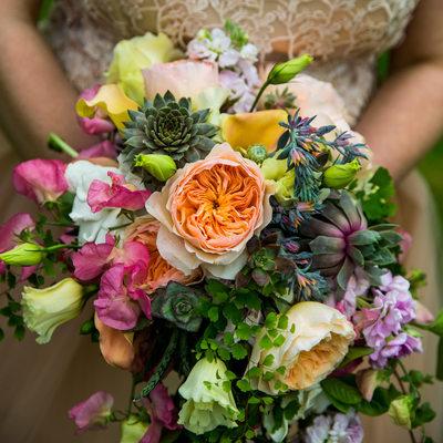 Detail of bride's bouquet by Blitz Florist of Tacoma