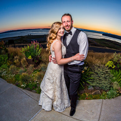 Bride and groom fisheye portrait at Chambers Bay sunset