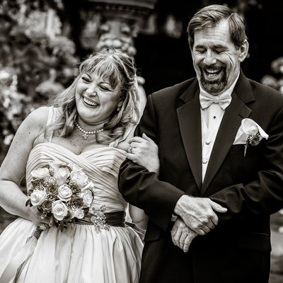 Joyous bride and groom after marriage pronouncement