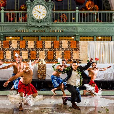 Groom jumps into Tongan dance during wedding reception