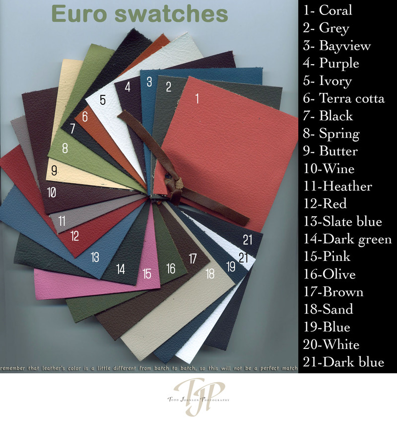 Leather options for The Deluxe Book with leather cover