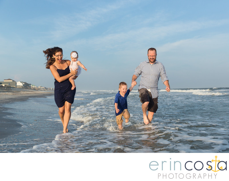 Fun Topsail Beach Family Portraits