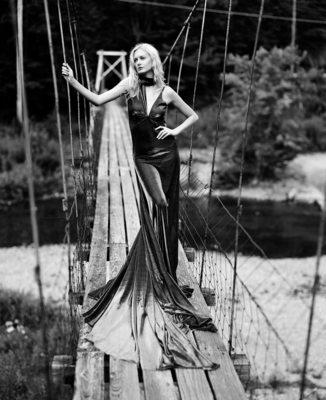 long dress on bridge