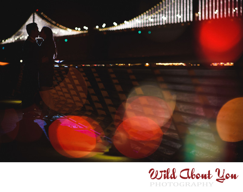 bay bridge at night engagement photography